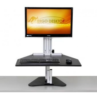 Wallaby Sit Stand Workstation - Raised, Front View