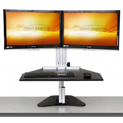 Wallaby Elite Sit Stand Workstation - Raised, Front View
