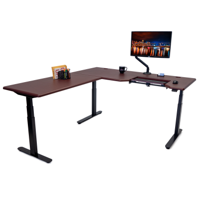 Lander L-Desk with SteadyType - Front View