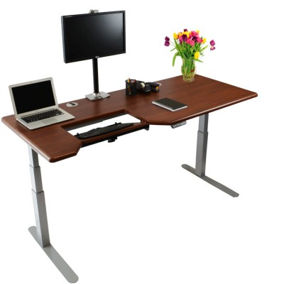 Omega Everest Stand Up Desk Left SteadyType Keyboard Tray