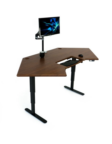 Cascade Corner Standing Desk Angled Right W Monitor Arm