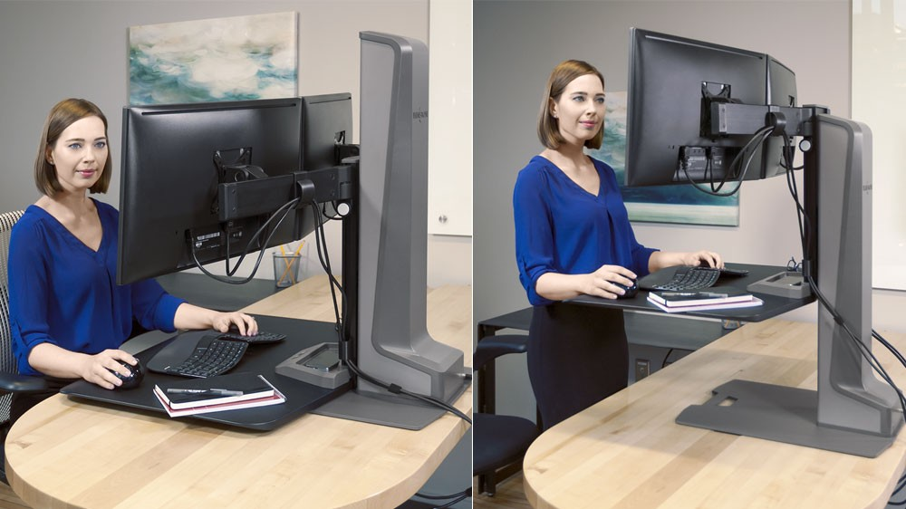 Winston E Desktop Riser Two Monitors Sit Stand