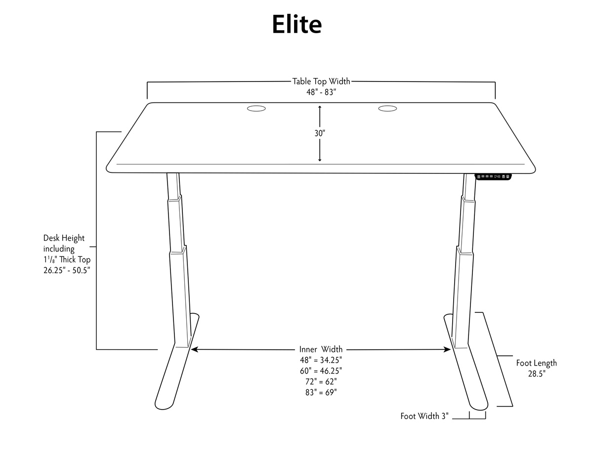 iMovR Elite Stand Up Desk Dimensions