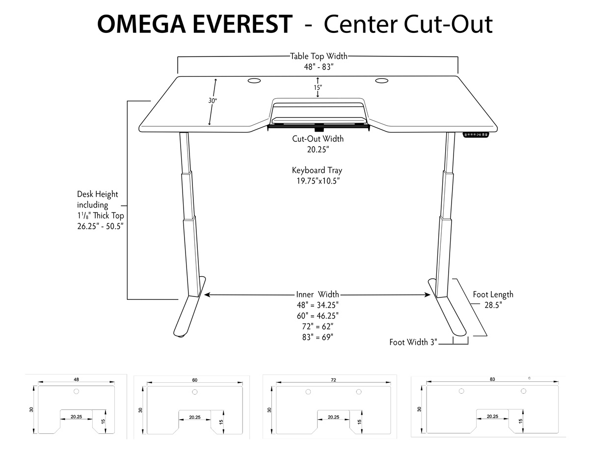 iMovR Everest Stand Up Desk Dimensions Center Tray