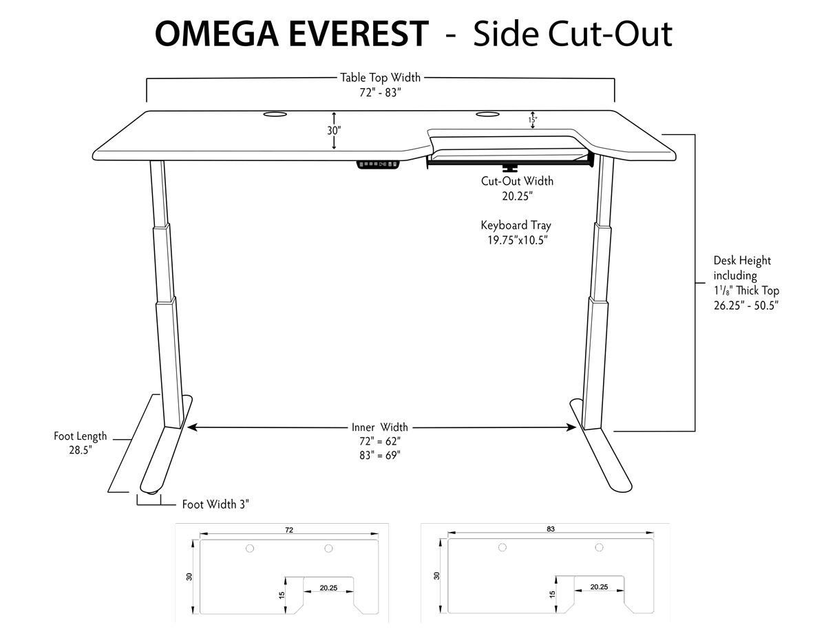 iMovR Everest Stand Up Desk Dimensions Side Tray