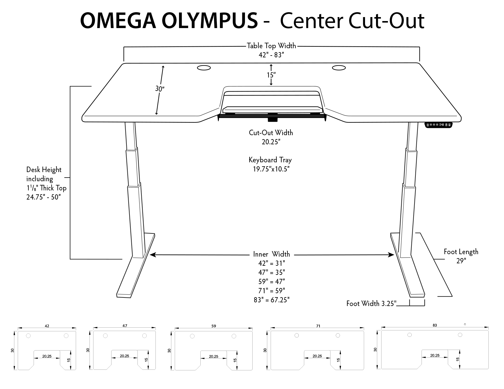 iMovR Olympus Desk - Center Tray
