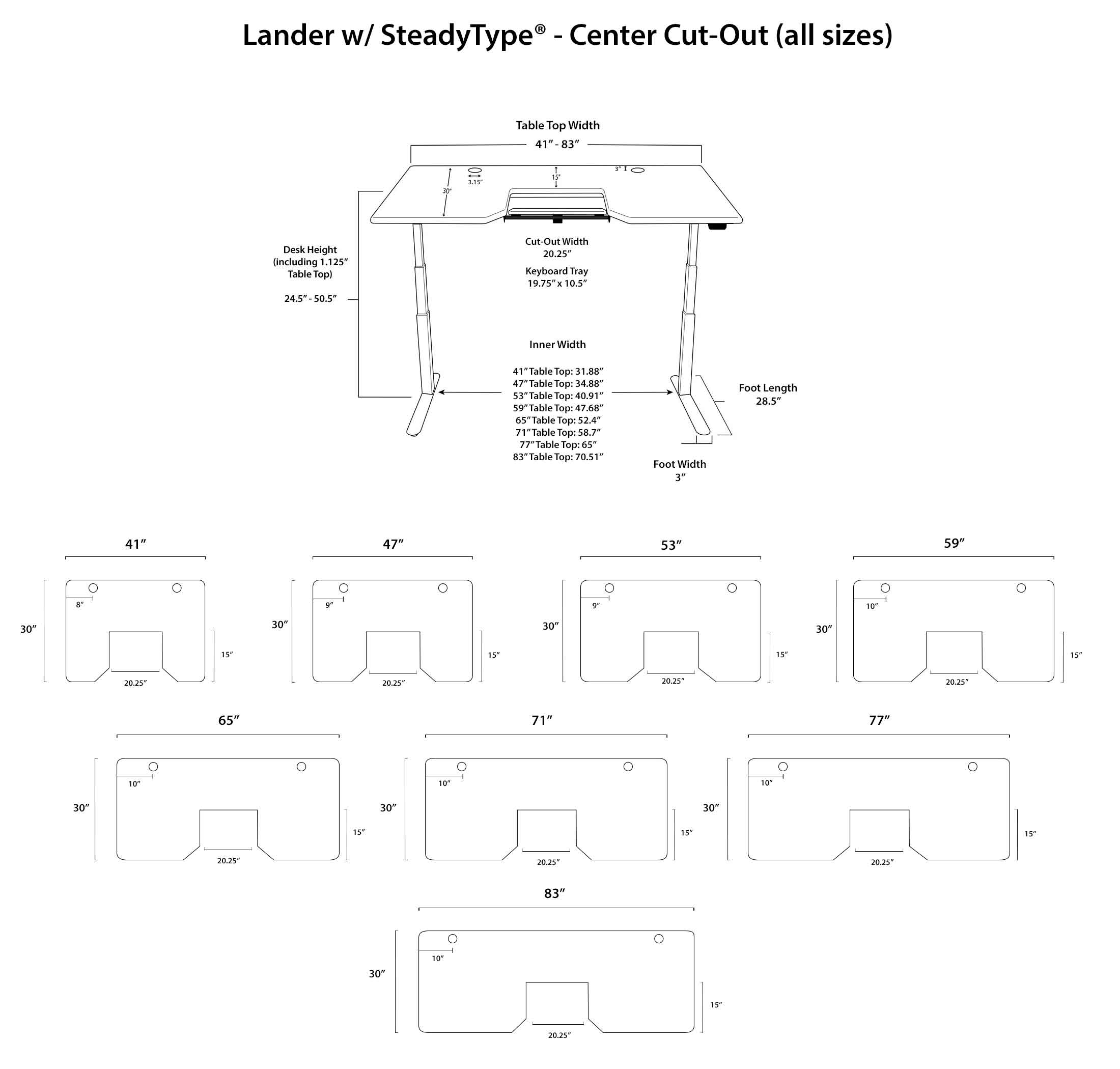 Lander Standing Desk Diagrams