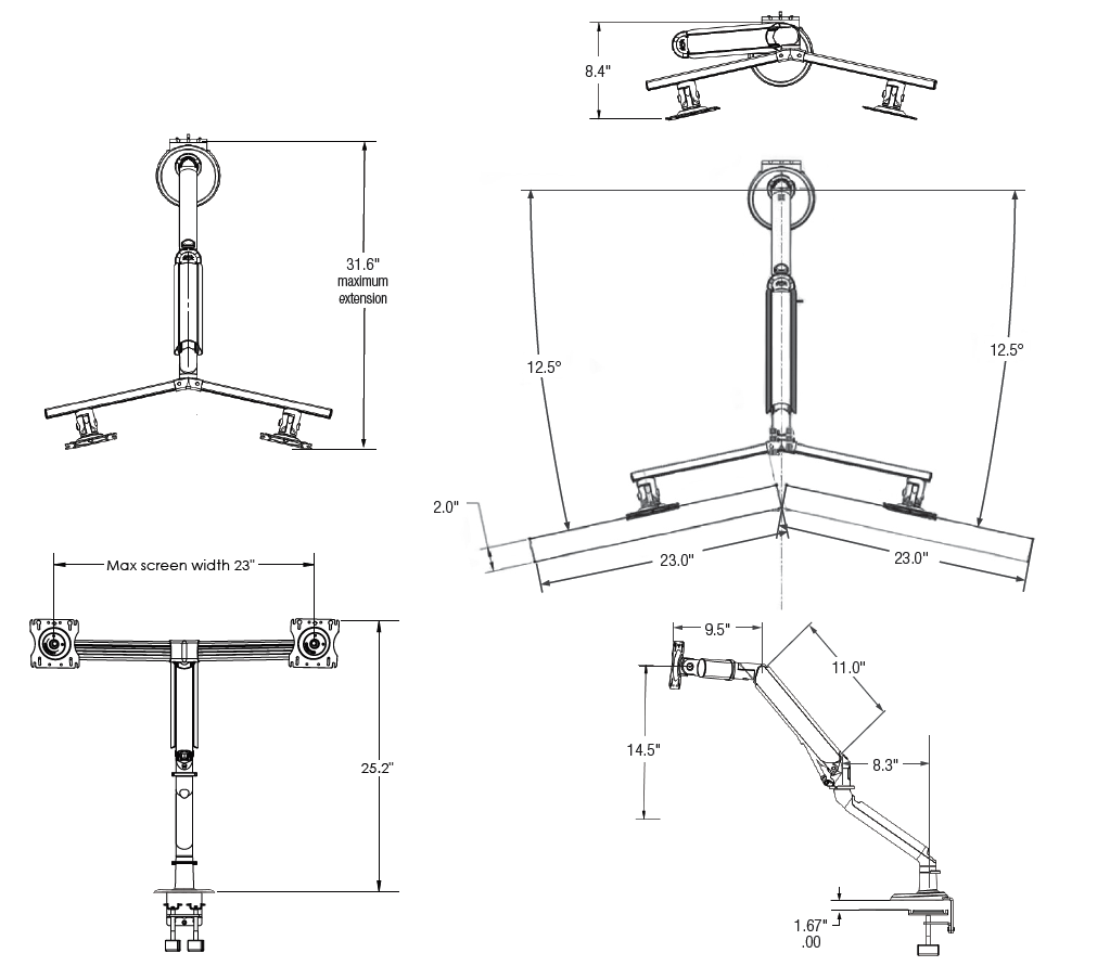 Tempo Dual Screen Monitor Arm Diagrams