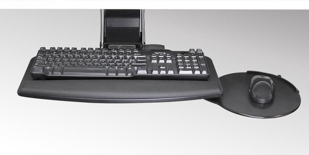 The mouse platform can be installed on the left or right side of the tray.